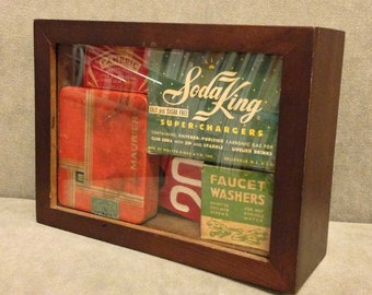 SALE! Shadow box with vintage midcentury boxes, tin, and cow tags