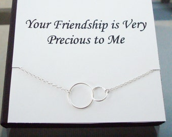 Double Circle Infinity Link Sterling Silver Necklace ~~Personalized Jewelry Gift Card for Best Friend, Sister, Bridal Party, Graduation
