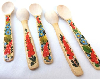 Small wooden spoon - Hand painted spoon - Ice cream spoon - Baby spoon - Kid spoon - Mini spoon - Sugar, salt, dessert spoon - Colorful