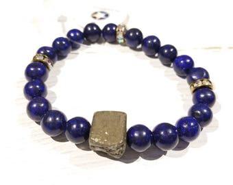 Lapis Lazuli & Pyrite Healing Gemstone Bracelet