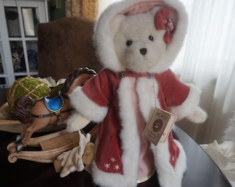 Vintage, Large Boyd Genevieve Frostbeary Stuffed Bear with Stand