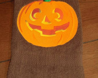 Embroidered Terry Hand Towel - Halloween - Smiling Pumpkin