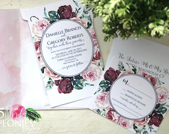 Watercolor Rose Pink and Wine Invitations - Wedding Invitations