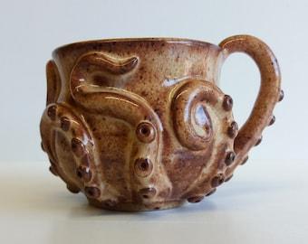 Shino orange-brown-white octomug, the octopus mug!