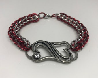 Two Hearts Full Persian Chainmaille Red and Silver Bracelet