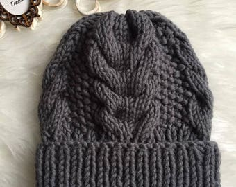 Children Cabled Knit Hat/ Kids Chunky Knit Hat