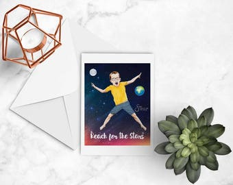 Reach for the Stars Artistic Note card of young boy w/ glasses jumping in space, Inspirational greeting card printed from whimsical drawing.