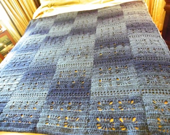 Denim Lace Afghan Blanket