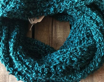 Teal Ribbed Infinity Scarf