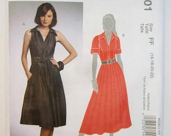 McCall's M5801 Misses Dress & Sash Sewing Pattern Sizes 16 - 22 Uncut