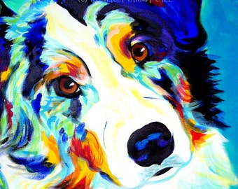 Australian Shepherd Art, Aussie Art, Pet Portrait, DawgArt, Dog Art, Colorful pet portrait, pet portrait artist, pet portrait painting