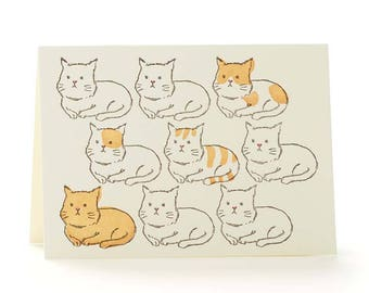 Cats set of 6 letterpress cards