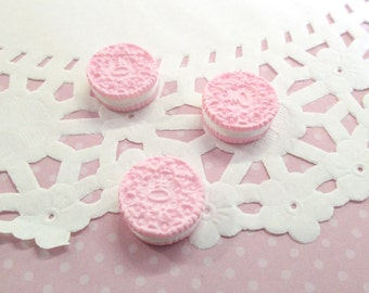"Pink ""Oreo"" Cookie Kawaii Cabochons Decoden Sweets Miniature Cookies,  #134b"