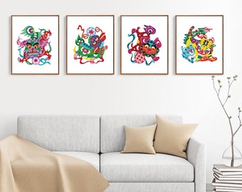 Chinese Paper Cutting Lion set of 4, Chinoiserie design inspiration, craft, card, scrapbook, Wall Art, INSTANT DOWNLOAD