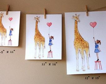Children's Wall Art Print - 11 x 14 Giclée - Giraffe and little girl - Girl's Room Decor- Customizable Hair Color