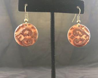 Coral and Brown Enamel Earrings