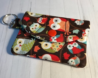 Keychain Snap Business Card Mini Wallet - Owls