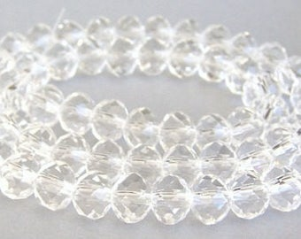 16 clear crystal 10mm rondelle beads, 10mm clear Chinese crystal faceted, sparkly, holiday jewelry supplies