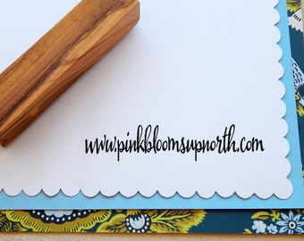 Small Handwritten Font Olive Wood Business Stamp - Your Web Address