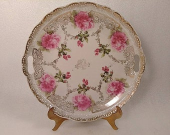 Large Antique Gold Trim Pink Roses Decorative Plate