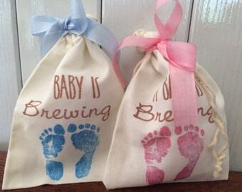 A Baby is Brewing, 30 Tea Party Favor Bags, Baby Shower Favors, Pink or Blue Baby Feet