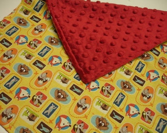 Pet Friends Baby Minky Burp Cloth 14 x 17 READY TO SHIP
