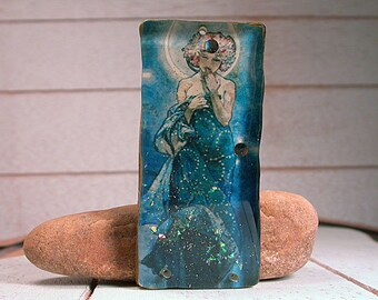 Resin Focal Bead, Rustic Mixed Media Mucha The Moon, Resin Pendant, Divine Spark Designs, SRA