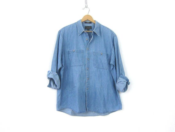 Vintage Faded Jean shirt Worn In button down Oversized Denim Boyfriend Shirt 90s Men's Preppy Work Shirt Size Large XL