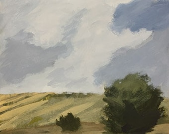 Landscape painting  9x12 pamela munger sky clouds small landscape decor