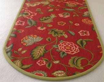 Red/Orange Fall Table Runner w/ Crewel-Type Floral Pattern.