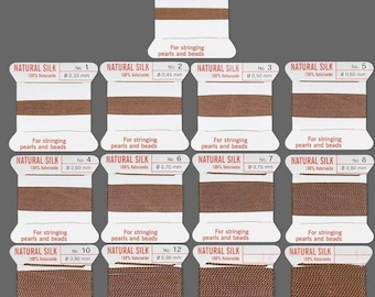 Brown Griffin Silk Cord Attached Needle Beading Pearl Knotting Thread