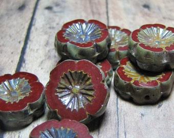 Earring Pair--Premium 14mm Red Chestnut Czech Glass Flower Beads (2)