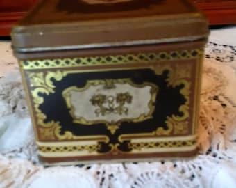 vintage small rectangle tin box ~ tin trinket box