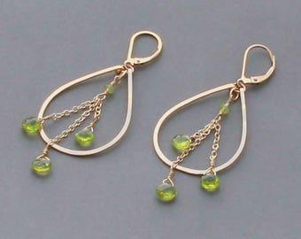 Green Peridot Hoop Earrings, August Birthstone, Small Teardrop Hoop Earrings, Peridot Jewelry, Gold Filled or Silver
