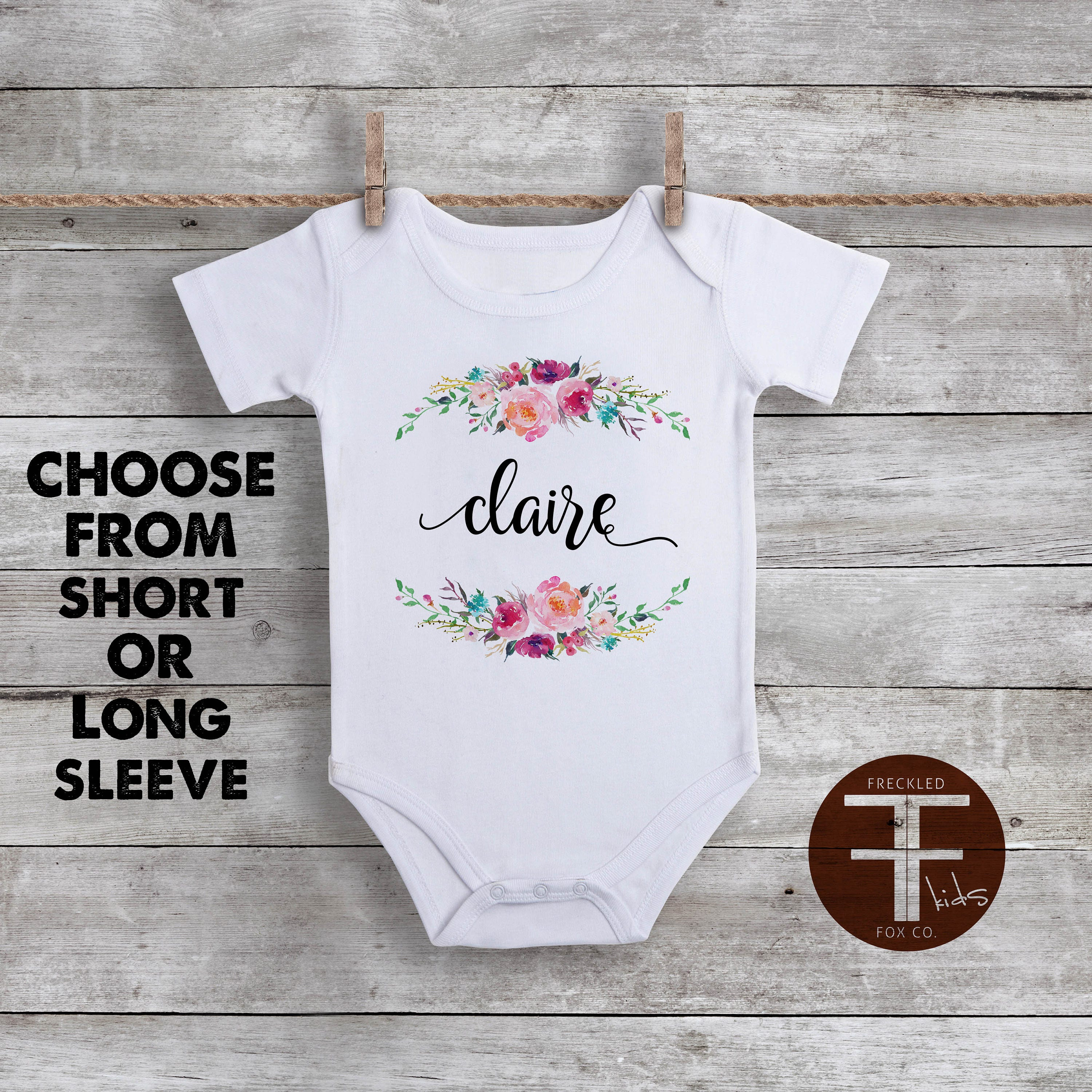 Custom Name ONESIE Boho Baby Clothes Watercolor Floral