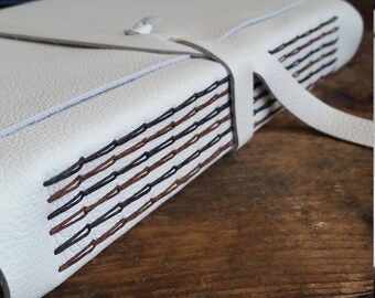 Large Leather Journal, White Hand-Bound 6 x 9 Journal by The Orange Windmill on Etsy 1722