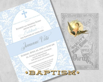 Printed Baby Boy Baptism Invitations in Blue and White Damask - Elegant Christening or Dedication Invitation - Custom Invites with Envelopes
