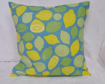 Handmade Lemons and Limes Bright Fresh Cushion Cover
