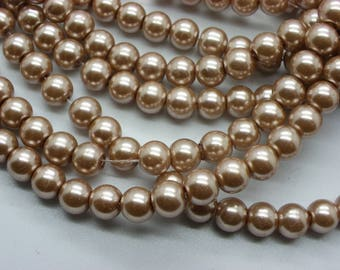 50 8 mm Pearl PuTTY beige glass pearl beads