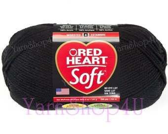 BLACK 5oz Red Heart Soft Yarn, This medium worsted weight Solid Black Acrylic Yarn is a large ball with 256yds. This yarn has no dye lot.