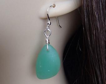 Sea Glass Earrings. Beach Glass Earrings. Green Sea Glass. Green Earrings. Cultured Sea Glass