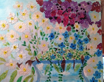 Flowery bouquet acrylic paint