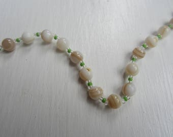 Vintage Mother of Pearl Bead Necklace-Japan With Original Label-FREE SHIPPING (US)