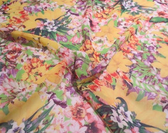 SPECIAL--Yellow with Orchid and Red Allover Floral Print Polyester Chiffon Fabric--By the Yard