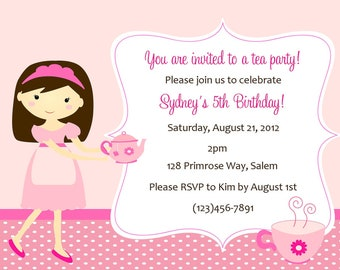 Tea Party Invitation ( Digital File ) / Tea Party Birthday Invitation / Tea Birthday Party / Invitation to tea party birthday