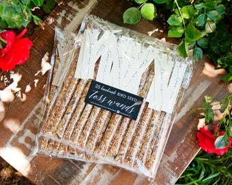 Wedding Bird Seed Toss - Personal Seed Toss Wands - Outdoor Send Off - Reception Exit - Toss Me - Confetti alternative - 25 tubes per pack