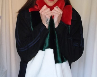 Long Multi Coloured Faux Fur Scarf in Christmas Colours, Green, Red and Cream