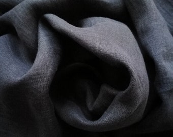 "Pure linen wash out fabric with ""Denim"" effect -dark gray --apparel--light weight"