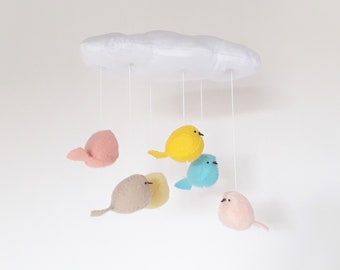 Baby mobile - cloud and birds nursery decoration