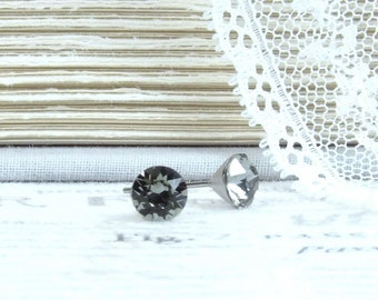 Gray Crystal Studs 6mm Studs Crystal Stud Earrings Gray Studs Surgical Steel Studs Gray Stud Earrings